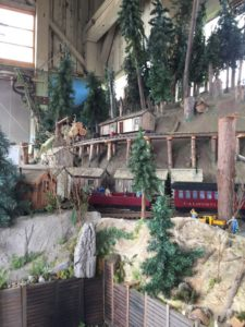 Logging camp with Skunk train passing through
