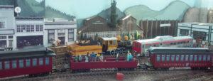 Skunk Train passing the Fort Bragg Depot