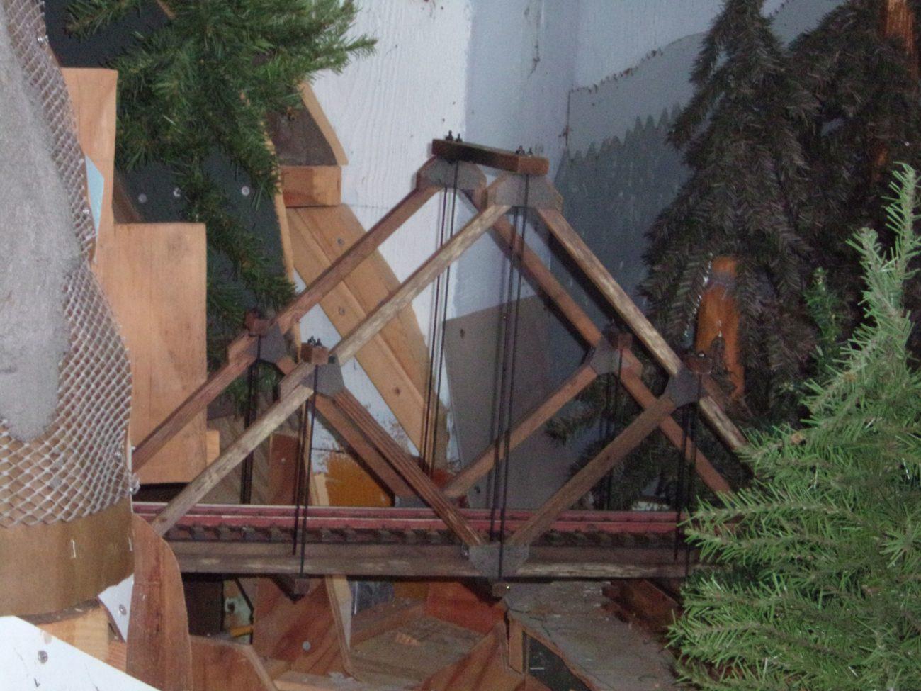 Close up of Santa Cruz Frank's Model of an A-Frame Bridge