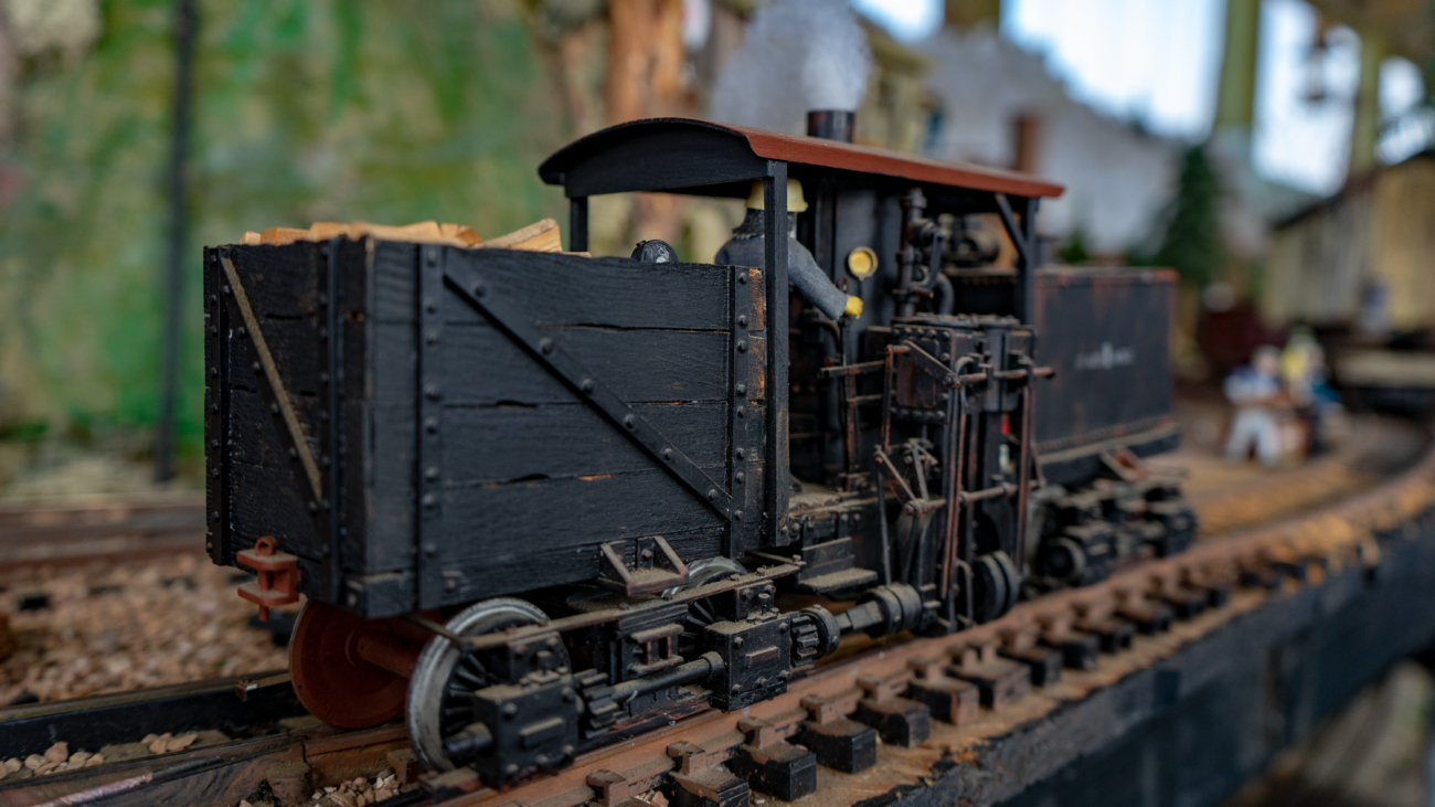 Detail on the scratchbuilt old Shay loco