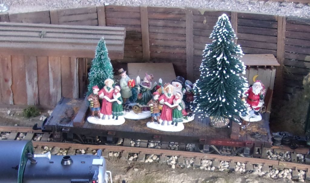 Flat car decorated for the holiday season