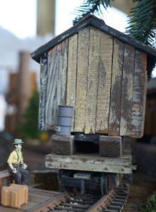 Loggers cabin on a flat car