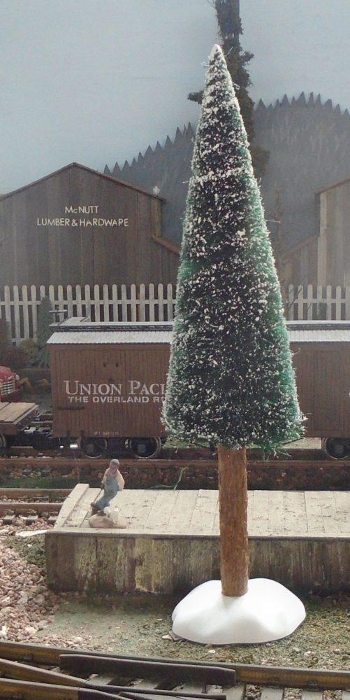 The Holiday season tree at the depot