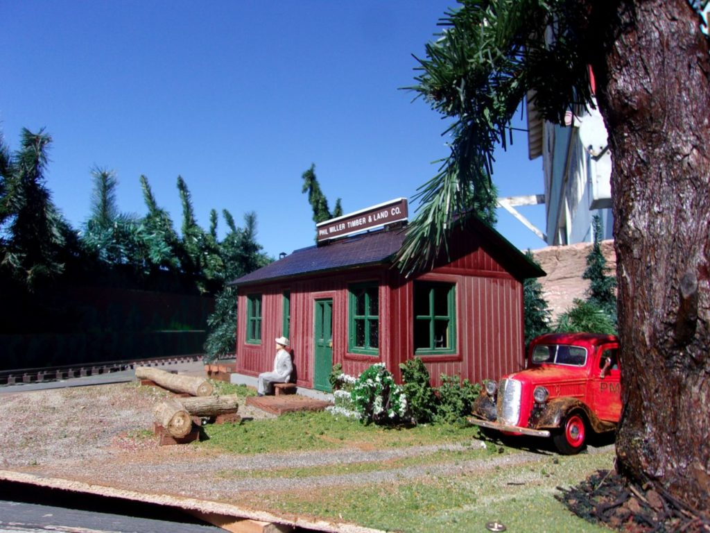 Phil Miller Lumber Company Office installed on the layout